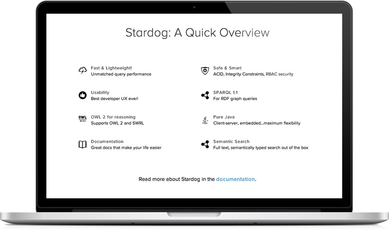 Stardog RDF database website - features section