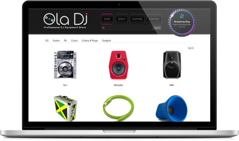 Ola DJ e-commerce shop