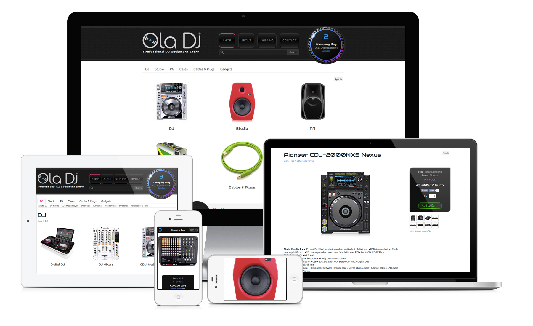 Ola DJ Responsive e-shop for Desktop, iPad and Mobile